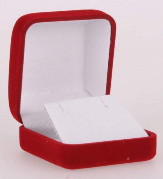 Geschenkbox mit Samt überzogen für Ohrringe Hänger und Stecker Rot
