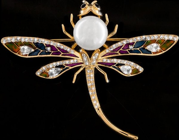 Brosche Libelle goldfarben mit Perle, schwarzen und vielen weissen Strass Steinen BR030