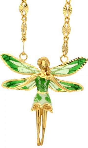 Halskette mit Feen Anhänger 3.0cm Green in 925 Sterling Silber Vergoldet ZCL1123-MG