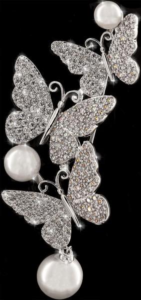 Brosche 3 Schmetterlinge silberfarben mit 3 Perlen und vielen weissen Strass Steinen BR020