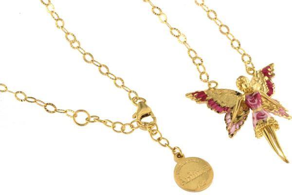 Halskette mit Feen Anhänger 3.0cm Pink in 925 Sterling Silber Vergoldet ZCL1119-MG