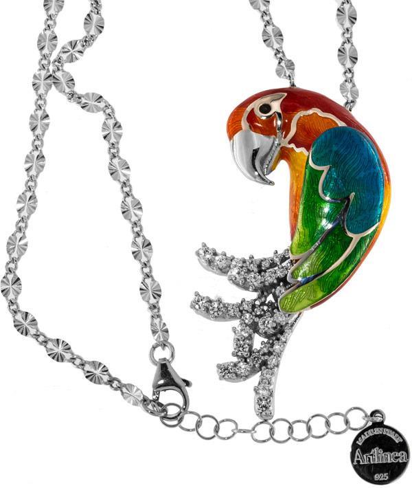 Halskette mit Papagei Hellroter Ara Anhänger 5.5cm in 925 Sterling Silber Rhondiert mit Zirkonia ZCL