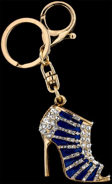 Anhänger High Heel goldfarben mit vielen weissen Strass Steinen Schlüsselanhänger Taschenanhänger AH