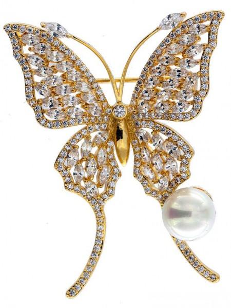 Brosche Schmetterling golfarben mit weissen Strass Steinen und Perle BR003