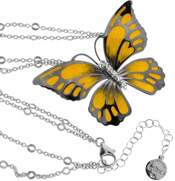 Halskette mit Schmetterling Anhänger 4.5cm gelb in 925 Sterling Silber Rhodiniert mit Zirkonia ZCL85