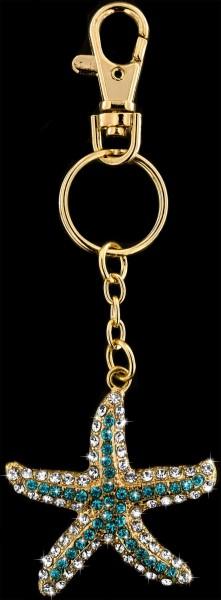 Anhänger Seestern goldfarben mit vielen weissen und türkisen Strass Steinen Schlüsselanhänger Tasche
