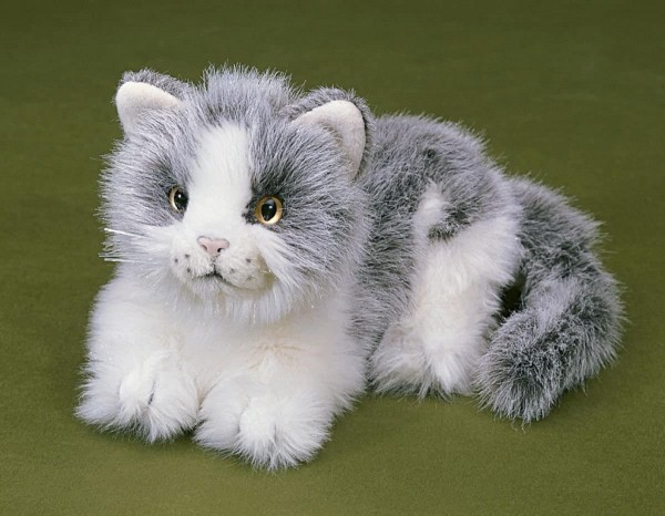 FÖRSTER 3270 Katze grau-weiß liegend 20 cm lang