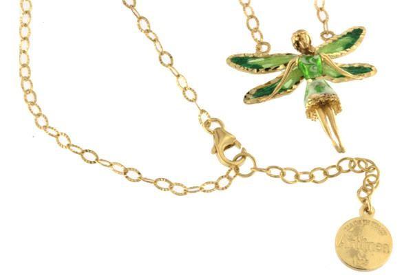Halskette mit Feen Anhänger 2.5cm Green in 925 Sterling Silber Vergoldet ZCL1122-MG