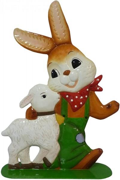 """Gartenstecker Hase mit Lamm - """"Weggefährten"""" Goebel 35 cm Begleiter."""