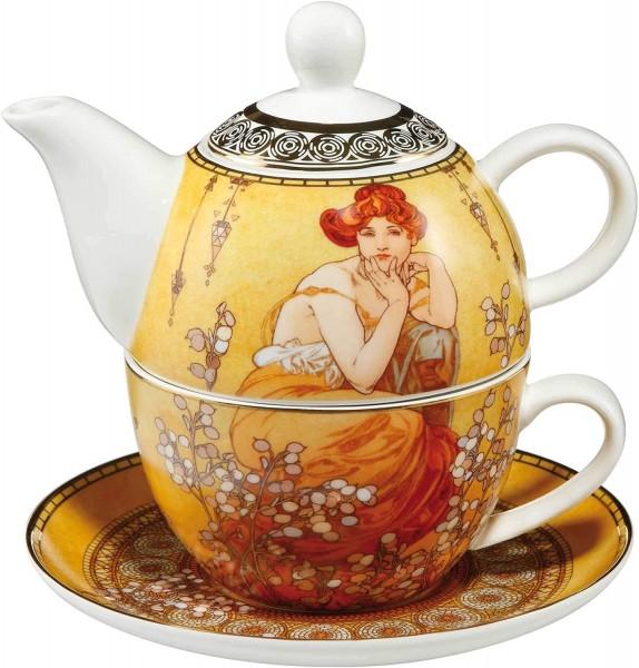 Goebel Alphonse Mucha Topas Tea for One Neuheit 2020 Teekanne + Teetasse NEU