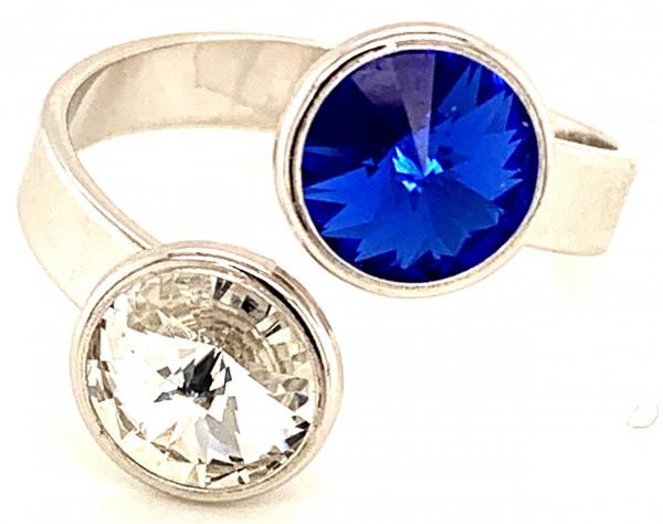 Silber Ring mit 2 Swarovski Crystal 1*Majestic Blue Blau 1*Crystal Clear 925 Silberfassung größe änd