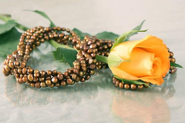 Echte Perlenkette P006 5-reihig gedreht Kupfer Braun Perlencollier 48cm NEU