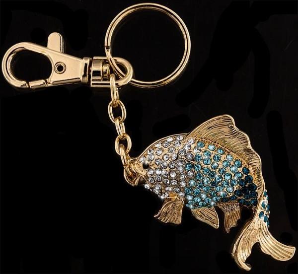 Anhänger Fisch goldfarben mit vielen blauen und weissen Strass Steinen Schlüsselanhänger Taschenanhä