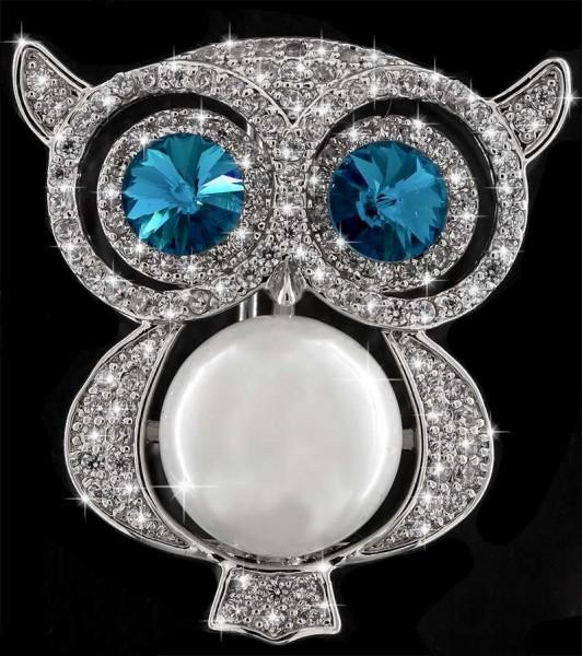 Brosche Eule silberfarben mit einer Perle, blauen und vielen weissen Strass Steinen BR042