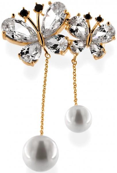 Brosche zweier Schmetterlinge goldfarben mit zwei Perlen, schwarzen und vielen weissen Strass Steine