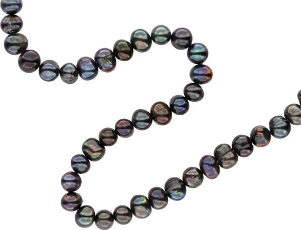 Premium Perlenstrang Echter Zucht-Perlen-Strang in Tahiti Black Violett ca. 37cm - rundliche, schöne Perlen 8-9mm